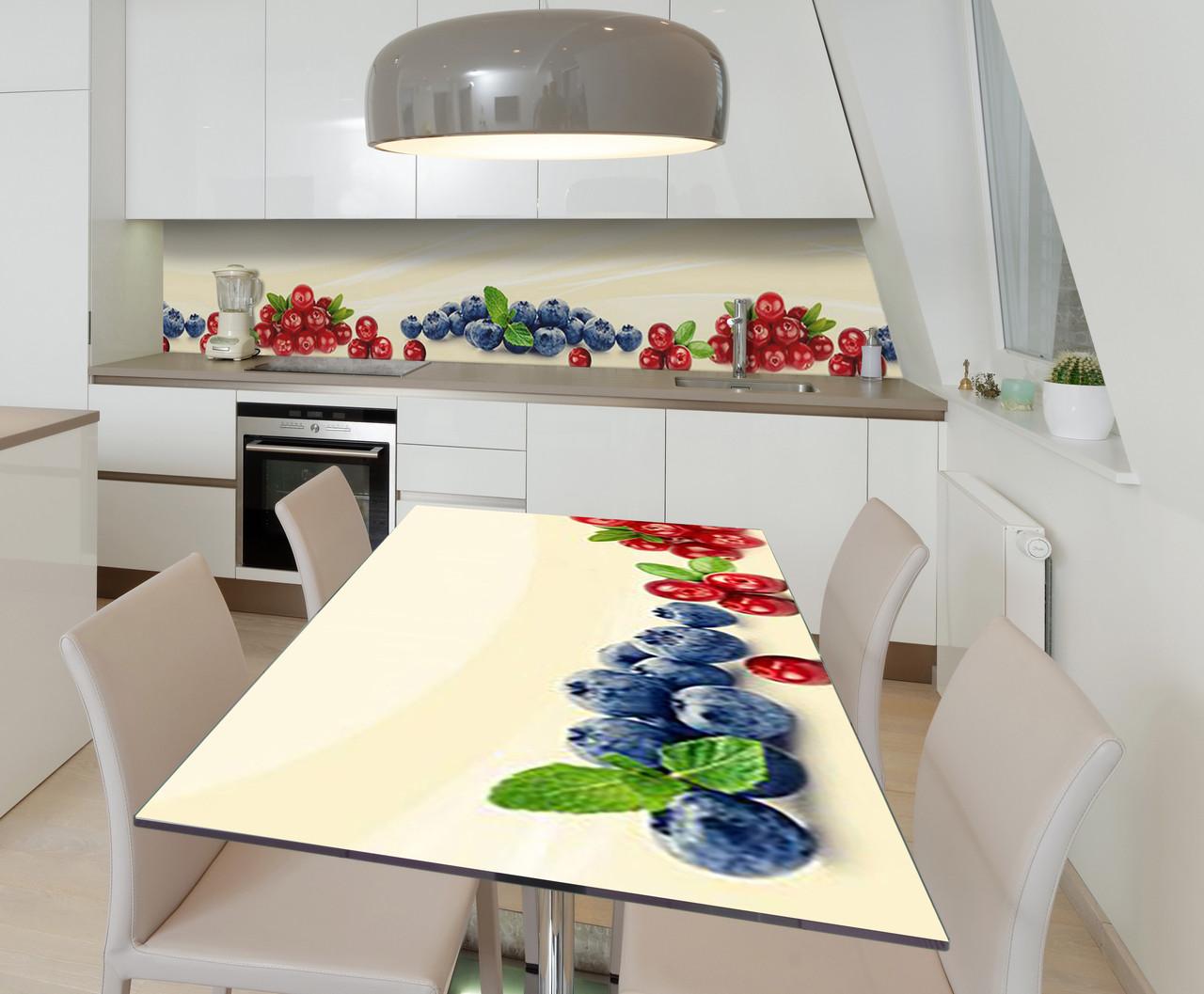 Наклейка 3Д виниловая на стол Zatarga «Клюква и Голубика» 600х1200 мм для домов, квартир, столов,