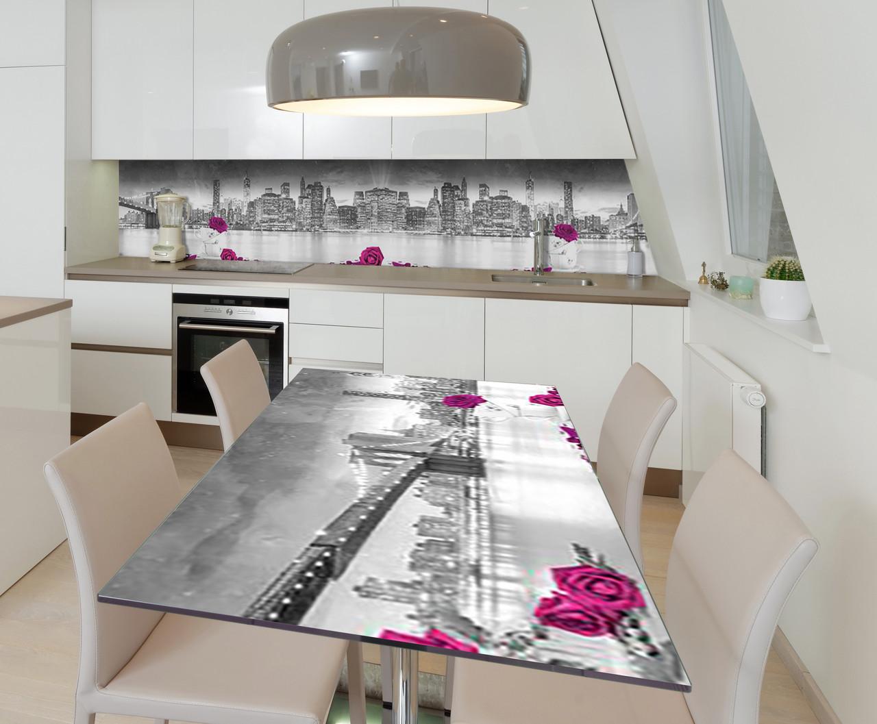 Наклейка 3Д виниловая на стол Zatarga «3Д Розы Город» 650х1200 мм для домов, квартир, столов, кофейн,
