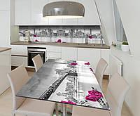 Наклейка 3Д виниловая на стол Zatarga «3Д Розы Город» 650х1200 мм для домов, квартир, столов, кофейн,, фото 1