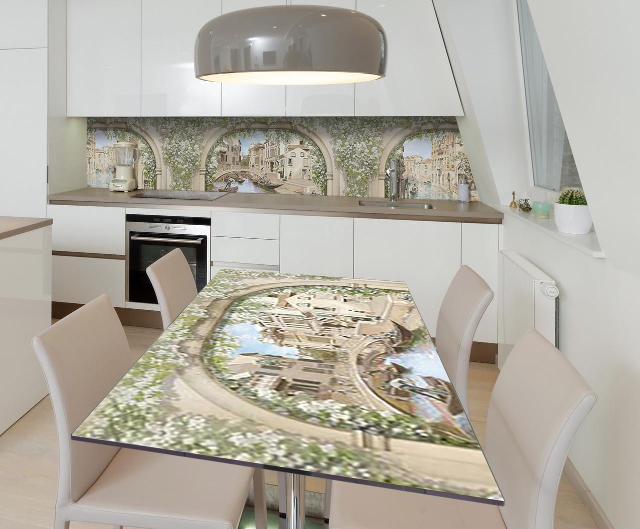 Наклейка 3Д виниловая на стол Zatarga «Винтажные Арки» 600х1200 мм для домов, квартир, столов, кофейн,
