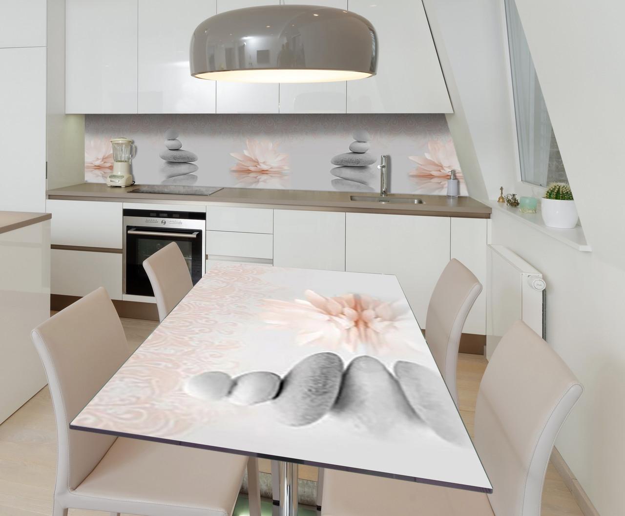 Наклейка 3Д виниловая на стол Zatarga «Серые камни Пирамиды» 650х1200 мм для домов, квартир, столов,
