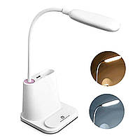 LED Лампа настольная светодиодная Белая Сенсорная с подставкой держателем для телефона ручек и зарядкой