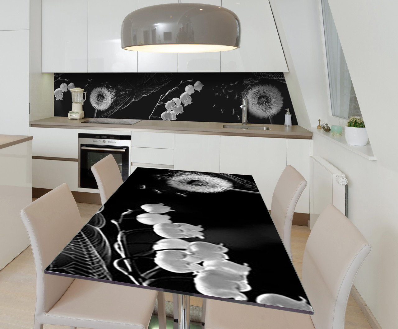 Наклейка 3Д виниловая на стол Zatarga «Одуванчик Ландыш» 650х1200 мм для домов, квартир, столов,