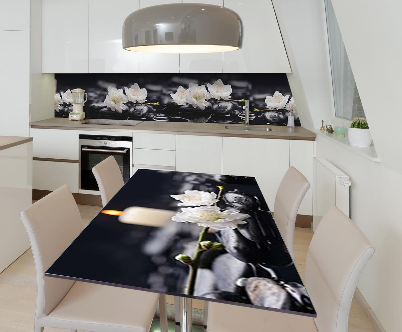 Наклейка 3Д виниловая на стол Zatarga «Белые цветы на камнях» 600х1200 мм для домов, квартир, столов,
