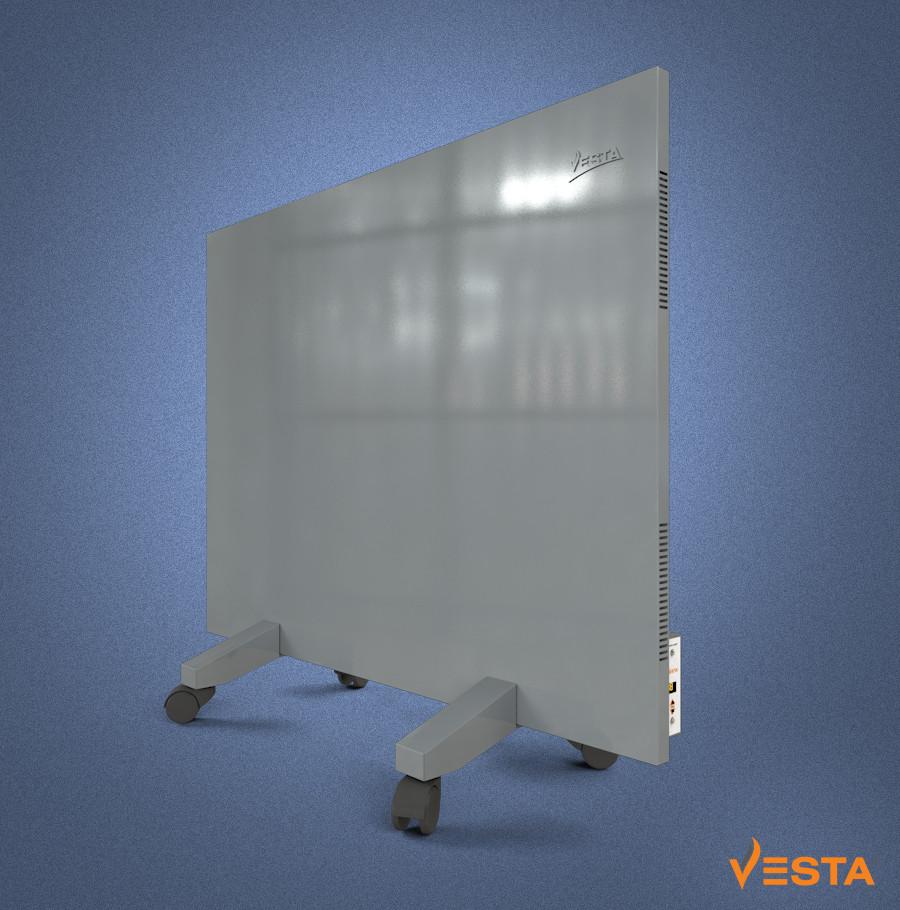 Обігрівач інфрачервоний VESTA 800 Вт з терморегулятором і ніжками, металева панель сіра 60х80см