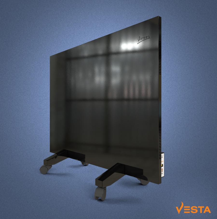 Металлический обогреватель инфракрасный VESTA 800 Вт с терморегулятором и ножками черный