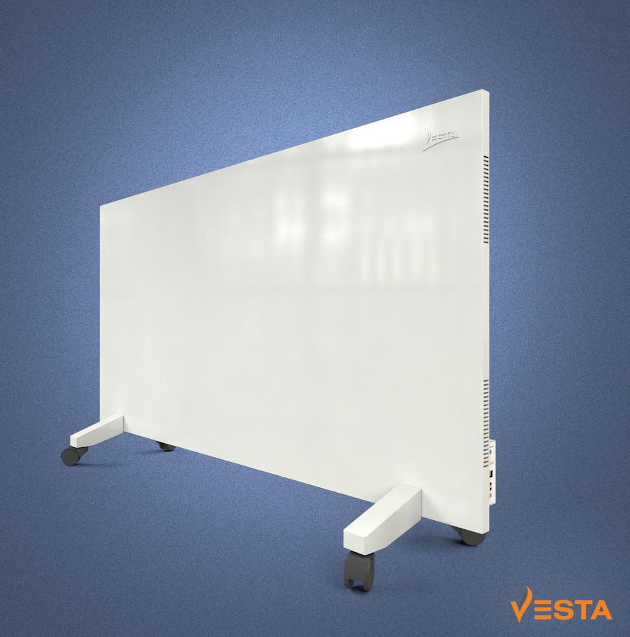 Металлический обогреватель инфракрасный VESTA 1200 Вт с терморегулятором и ножками белый