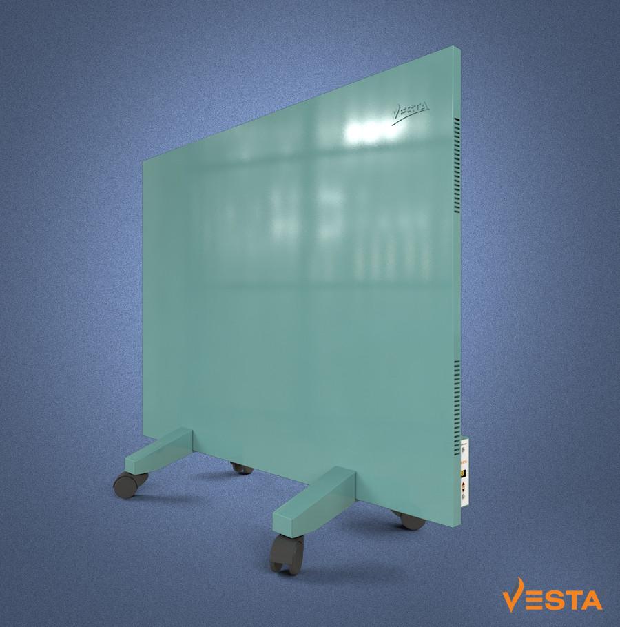 Металлический обогреватель инфракрасный VESTA 800 Вт с терморегулятором и ножками зеленый