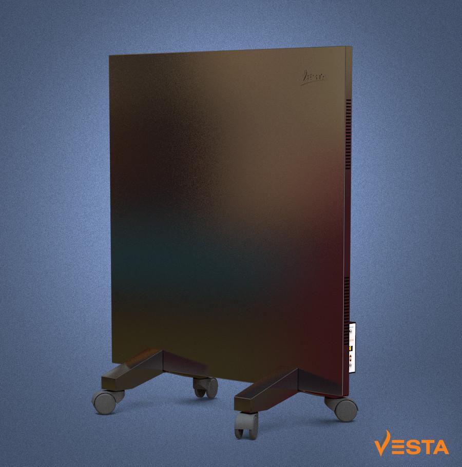 Металлический обогреватель инфракрасный VESTA 500 Вт с терморегулятором и ножками черный