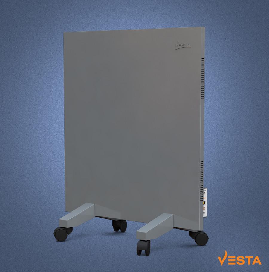 Металлический обогреватель инфракрасный VESTA 500 Вт с терморегулятором и ножками серый