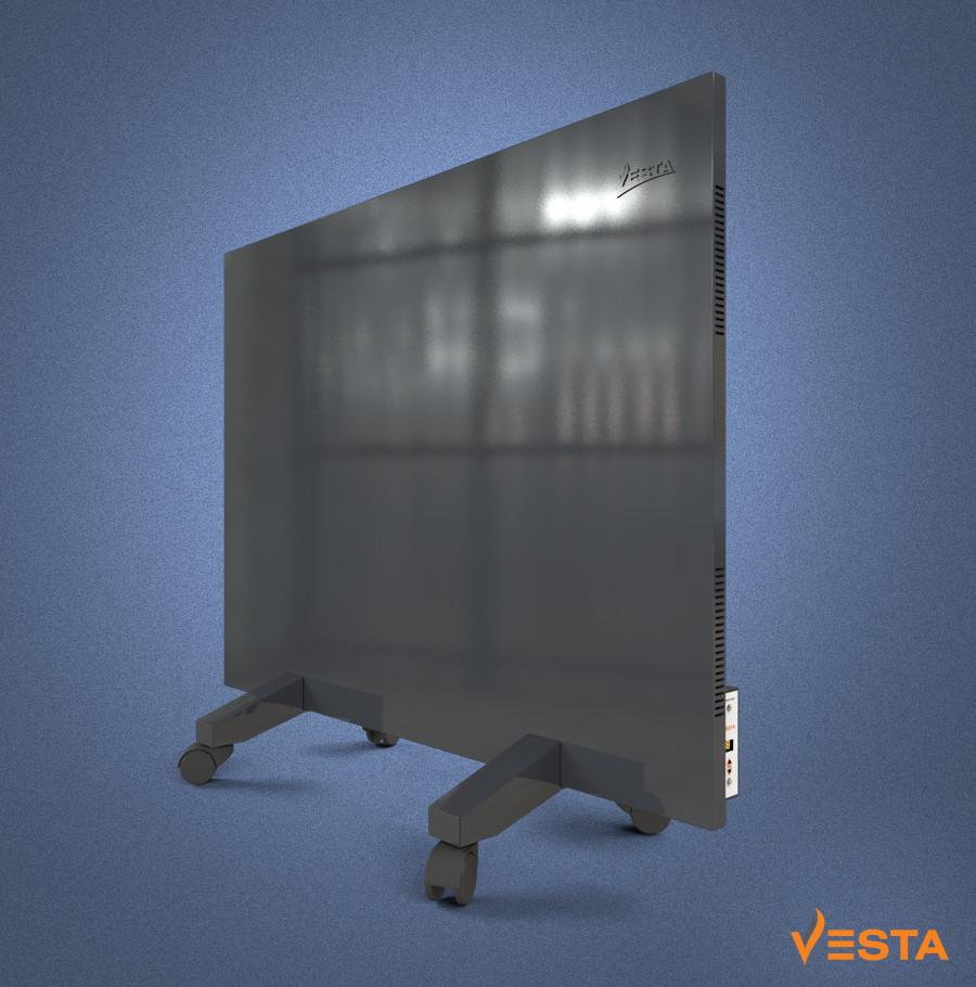 Металлический обогреватель инфракрасный VESTA 800 Вт с терморегулятором и ножками светло черный