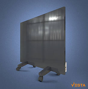 Металлический обогреватель инфракрасный VESTA 800 Вт с терморегулятором и ножками светло черный, фото 2