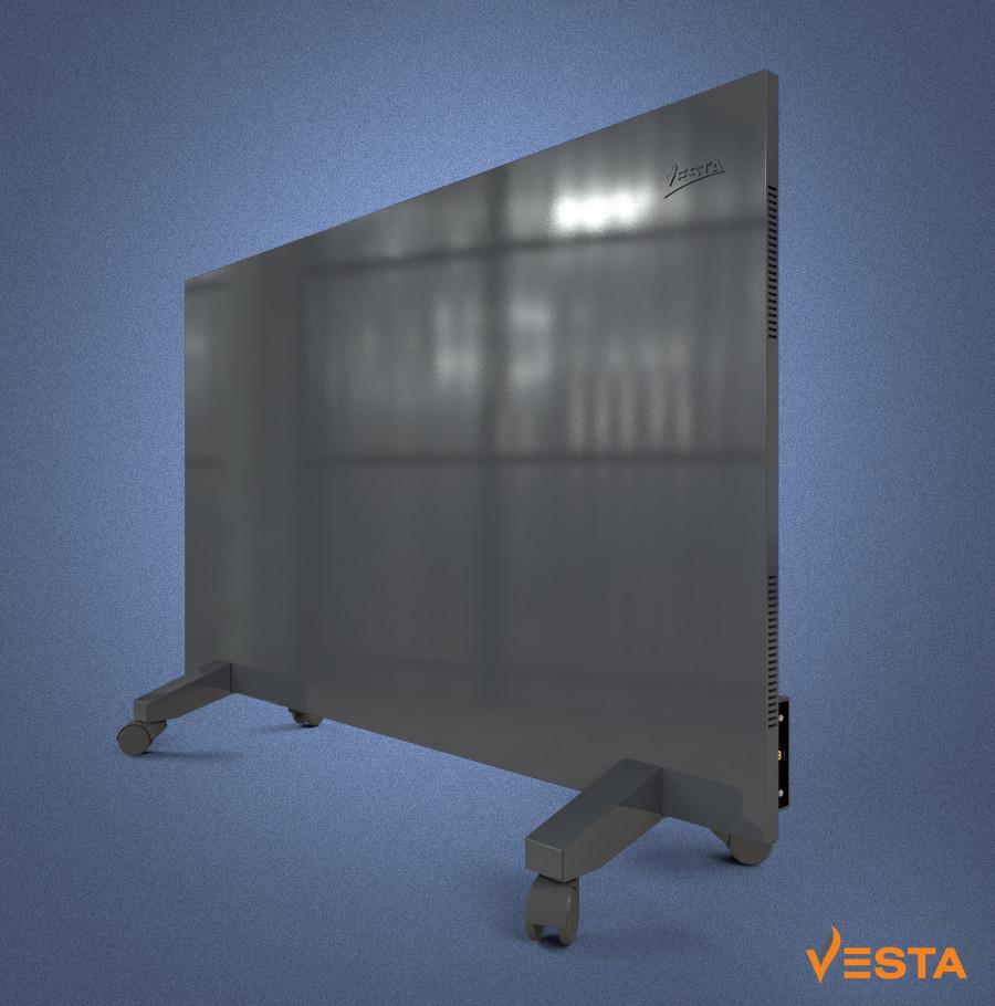 Металлический обогреватель инфракрасный VESTA 1000 Вт с терморегулятором и ножками светло черный