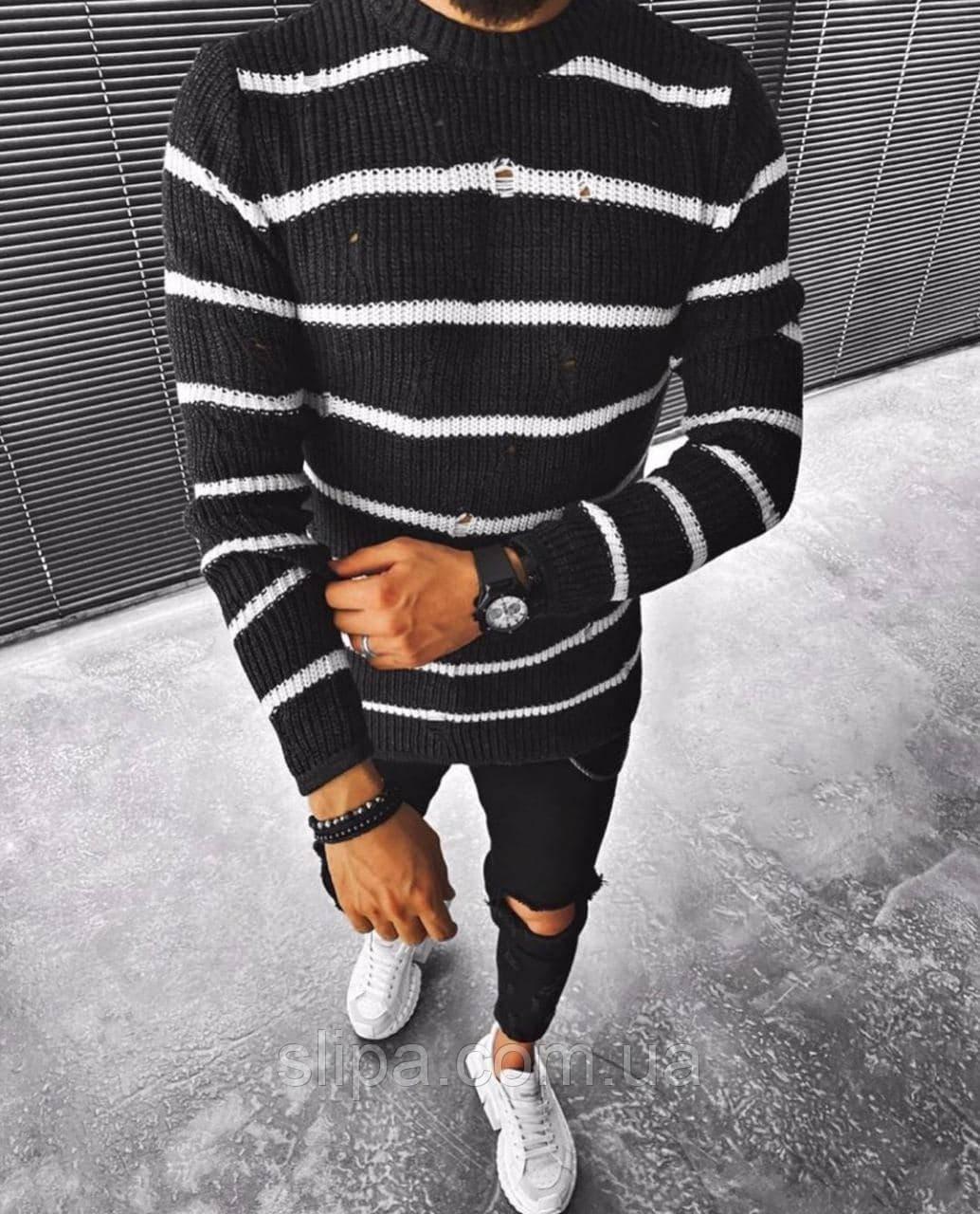 Чоловічий чорний светр в білу смужку ( Туреччина )