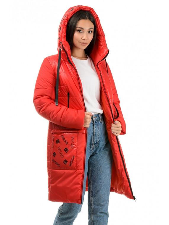 Молодежное зимнее теплое пальто 42,44,46,48 Красный