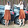 Женская юбка-клеш до колен коричневого цвета