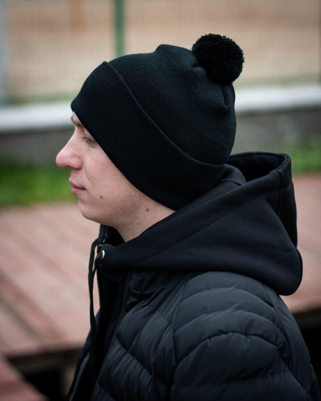 Чорна шапка на флісі Dragobrat