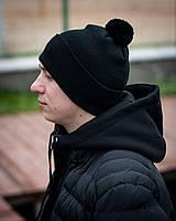 Чорна шапка на флісі Dragobrat, фото 1