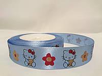 """Лента атласная с рисунком 2,5см голубая """"Hello Kitty"""""""