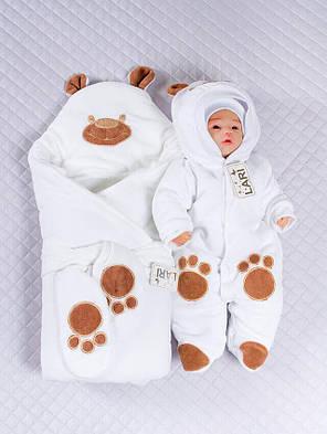 Зимний комплект на выписку для новорожденного набор Панда белый, фото 2