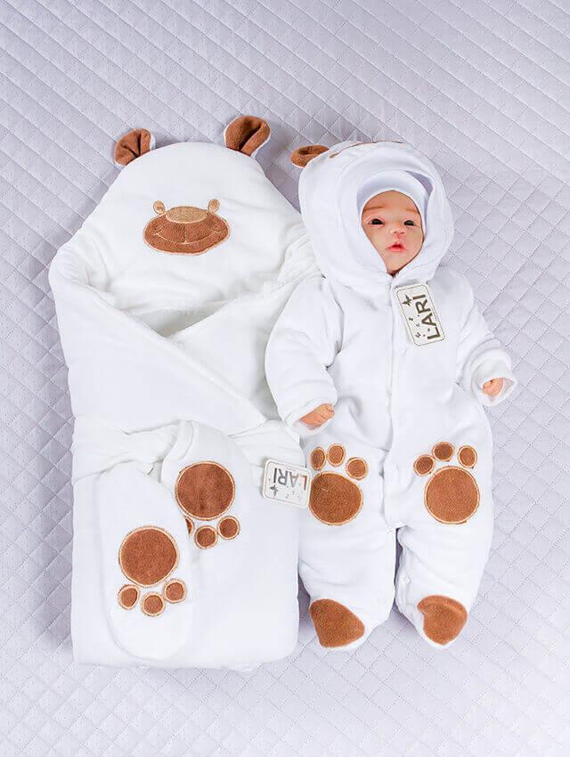 Зимний комплект на выписку для новорожденного набор Панда белый