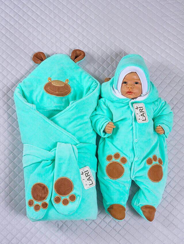 Зимний комплект на выписку для новорожденного набор Панда мятный