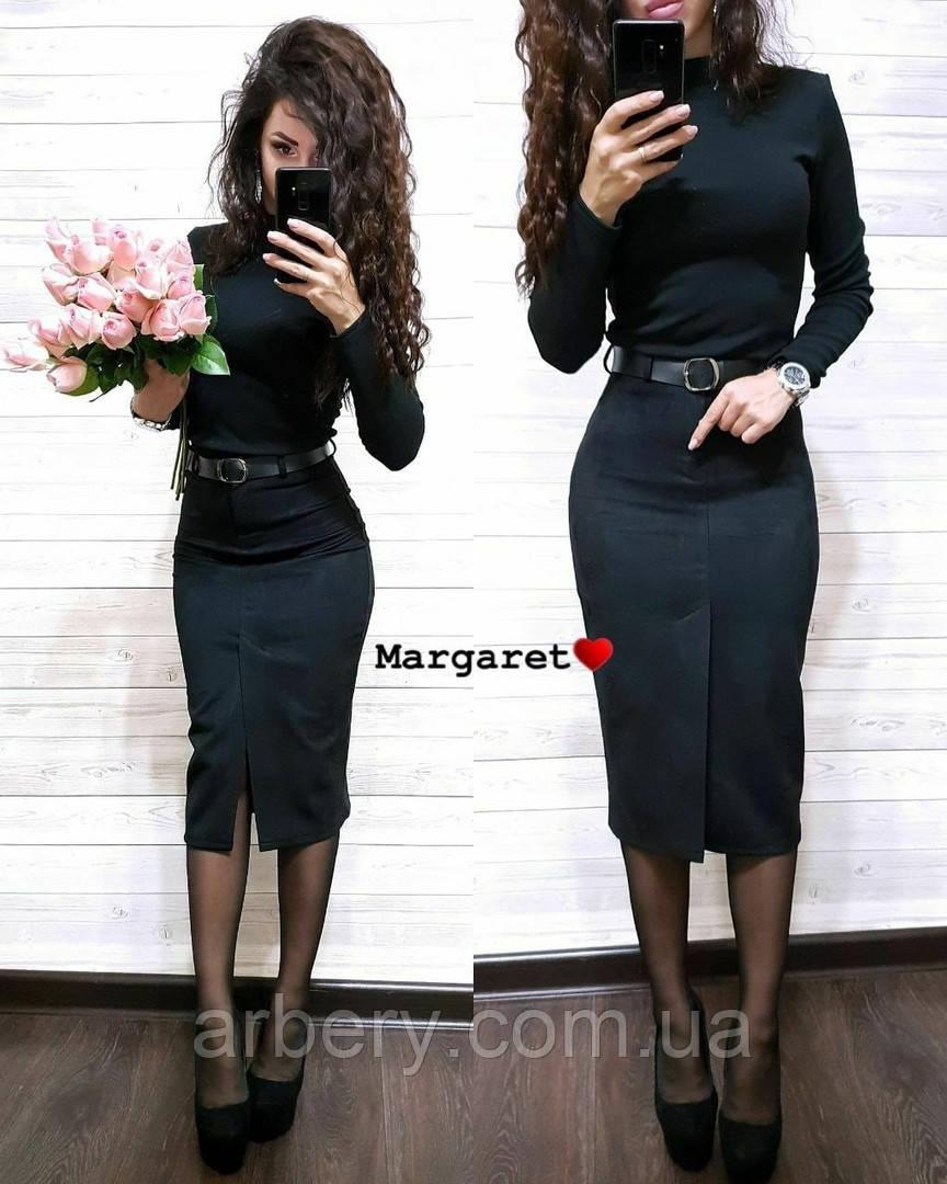 Женская замшевая юбка с разрезом