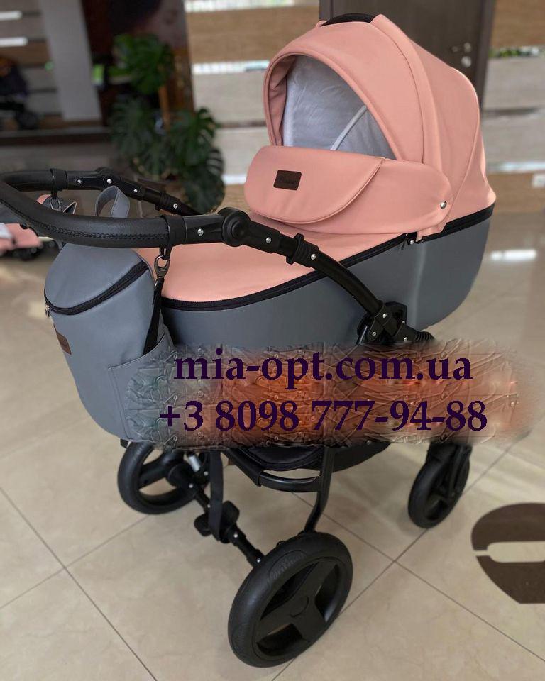 Детская коляска 2 в 1 Saturn Len Classik (Сатурн Лен Классик) Victoria Gold эко кожа серая с розовый