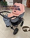 Детская коляска 2 в 1 Saturn Len Classik (Сатурн Лен Классик) Victoria Gold эко кожа серая с розовый, фото 2