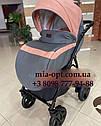 Детская коляска 2 в 1 Saturn Len Classik (Сатурн Лен Классик) Victoria Gold эко кожа серая с розовый, фото 4