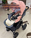 Детская коляска 2 в 1 Saturn Len Classik (Сатурн Лен Классик) Victoria Gold эко кожа серая с розовый, фото 3