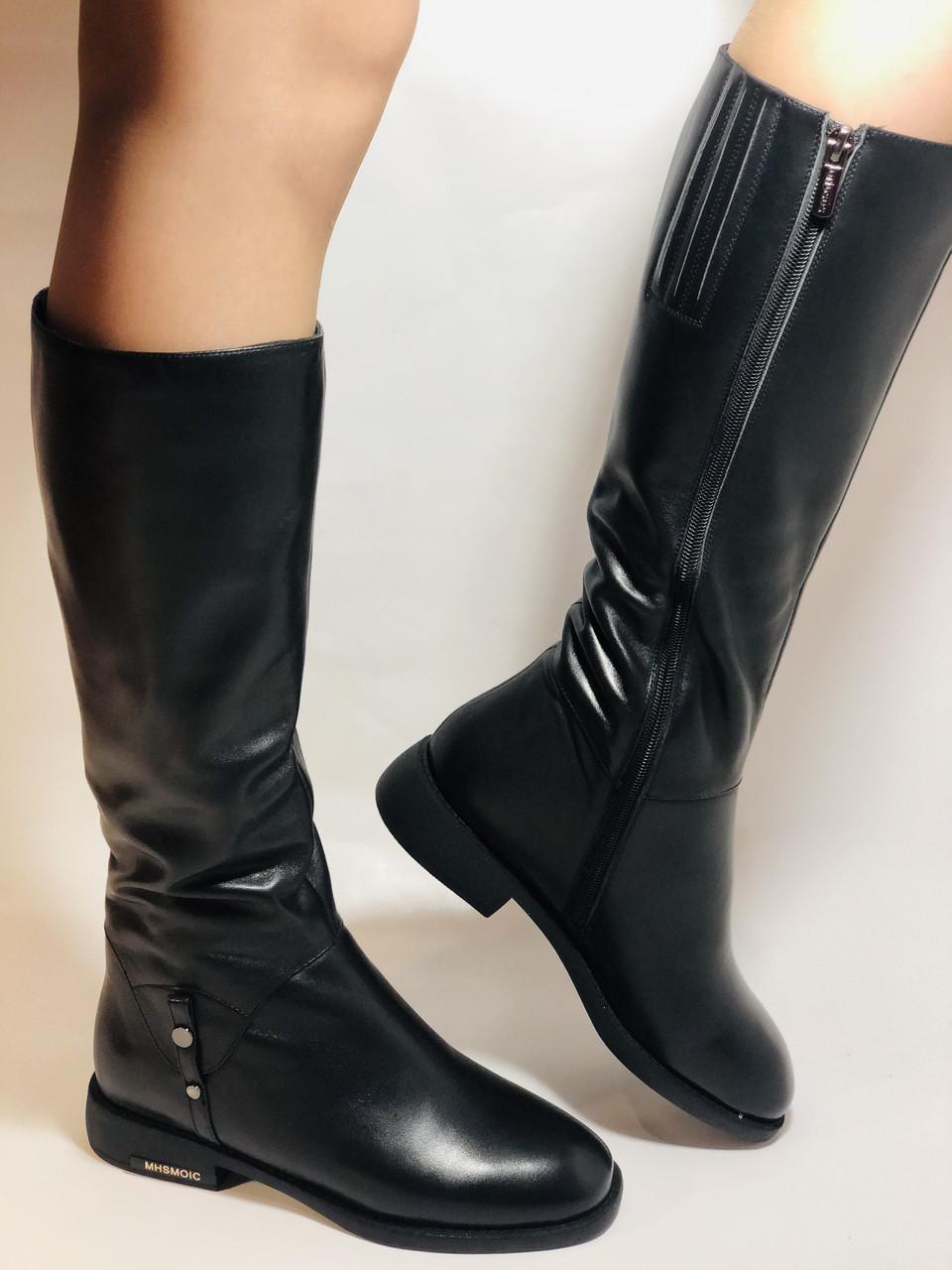Erisses.Зимние сапоги на натуральном меху на низком каблуке. Натуральная кожа. Люкс качество.  Р. 37.40.
