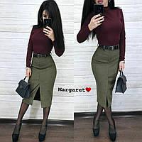 Женская замшевая юбка с разрезом, фото 1