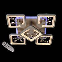 Потолочная светодиодная люстра квадратная в спальню цвет серый 110 диаша&S8157/4+1GR LED 3color dimmer