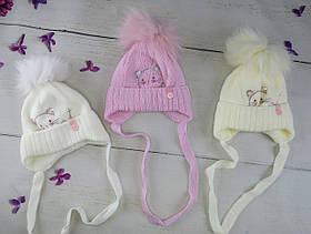 Зимова шапочка для дівчинки на зав'язках Кішечка Розмір 36-38 Мікс KR2242(36-38)+ Щасливе дитинство Україна