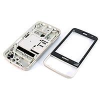 Корпус для Nokia N96, High Copy, Чорний з сріблястою середньою частиною /панель/кришка/накладка /нокіа, фото 1