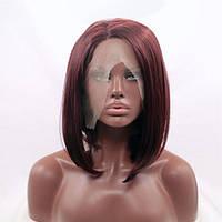Короткий прямой реалистичный женский парик на сетке бордового цвета марсала