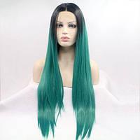 Длинный прямой реалистичный женский парик на сетке зеленого цвета с омбре
