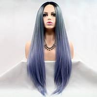 Длинный прямой реалистичный женский парик на сетке серо-синий градиент с омбре