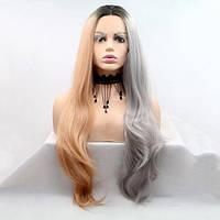 Длинный волнистый реалистичный женский парик на сетке серо - персиковый с омбре