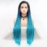 Длинный реалистичный женский парик на сетке из синих  афрокосичек с черным омбре