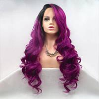 Длинный волнистый реалистичный женский парик на сетке пурпурного цвета с омбре