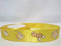 "На метр лента атласная с рисунком 2,5см желтая ""Черепаха"""