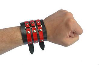 Напульсник на 3 ремінця(червоних) з кільцями