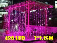 Уличная гирлянда водопад розового свечения    Гирлянда штора Xmas  480  LED (3*2.25 метра), фото 1