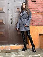 Короткое серое пальто под пояс, из ткани букле, с заниженой линией плеча (р. S - XXL) 45PA158, фото 1