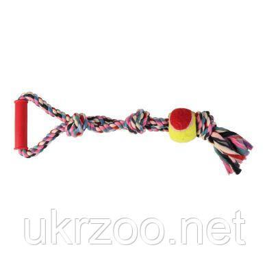 Игрушка для собак Trixie Канат плетёный с ручкой и мячом 50 см, d=6 см (текстиль, цвета в ассортименте) 3280