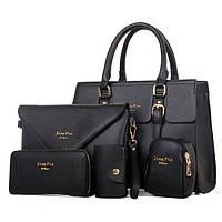 Женская сумка в наборе 4 в 1 сумка + клатч, кошелек, визитница, ключница черная, фото 1