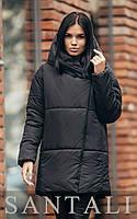 Подовжена зимова куртка - пуховик з плащової тканини з бавовною з об'ємним капюшоном в кольорах (р. 42-46) 45KU521, фото 1