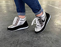 Ботинки серебристые женские зимние